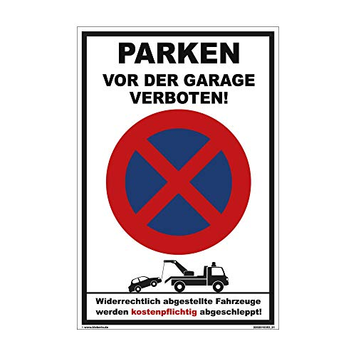 kleberio® Ausfahrt freihalten Schild Kunststoff - Parken vor der Garage verboten! - 30 x 20 cm Parkplatzschild Parkverbotsschild Verkehrsschilder einfahrt freihalten Schilder parken verboten