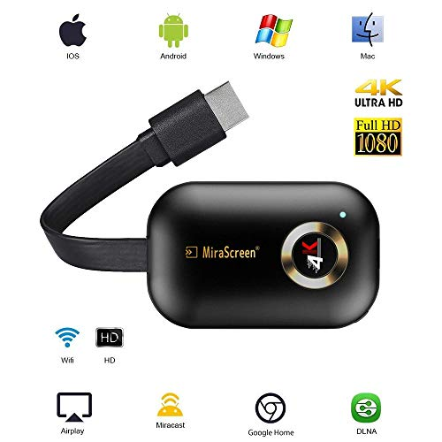 4K HDMI Wireless Display Receiver HD, Portable TV Display Adapter Airplay DLNA TV Stick for Android/Mac/iOS, Mini WiFi Display Receiver Share 1080P HD Video Audio/Picture/Live Camera/Music fro