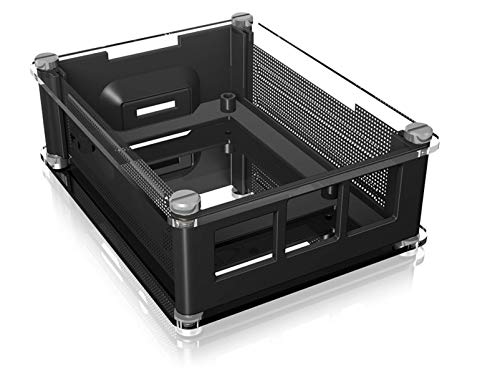 ICY BOX Raspberry Pi Case für Raspberry Pi 3 B+, Transparent, 3 Kühlkörper, Lüfter Öffnung, Schwarz