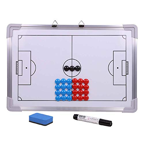 CVERY Soccer Coaching Board, White Board Magnetic Football Tactics with Marker Doppelseitiger Metallrahmen, hängender Wettkampfassistent