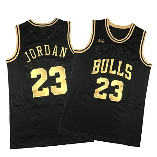 Bulls Jordan - Camiseta de baloncesto para edición final, 23 camisetas bordadas retro de color negro dorado S-XXL, unisex y cómodo chaleco deportivo XXL (95 ~ 110 kg)