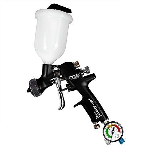 AZ4 HTE-S Impact Junior - Fließbecher Lackierpistole Spray Gun 1,2mm düse 200ml + Benbow Manometer (600)