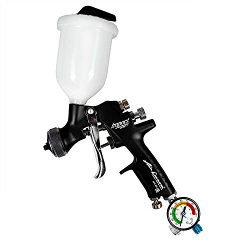 AZ4 HTE-S Impact Junior - Fließbecher Lackierpistole Spray Gun 1,2mm düse 200ml + Benbow Manometer (600)
