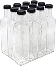 NiceBottles - Clear Glass Quadra Bottles, 250ml, Black Caps (8.5 Fl Oz) - Case of 12