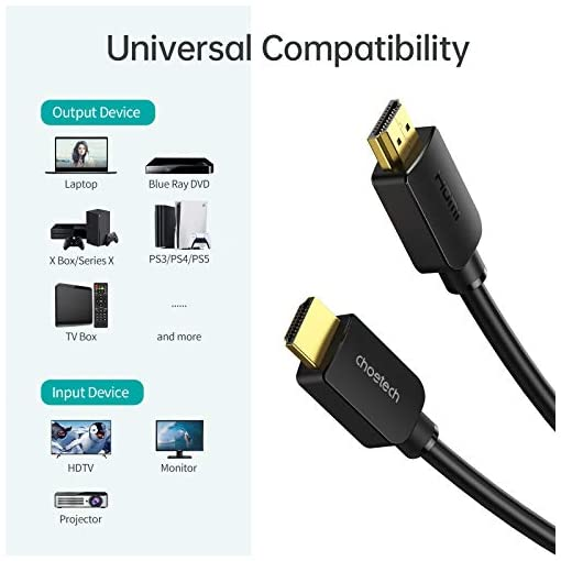 Cable HDMI 8K 6.6FT/2M, CHOETECH High Speed 48Gbps Ultra HD 8K@60Hz 4K@120Hz Cable HDMI a HDMI, eARC HDR Compatible… 7
