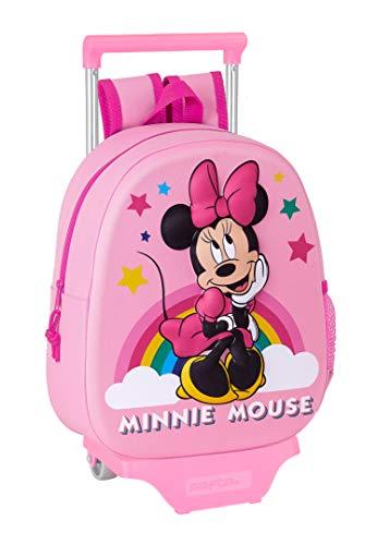 safta Mochila con Diseño 3D y Carro 705 de Minnie Mouse, 270x100x320mm, Rosa Claro, M (M020H)