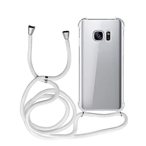 MyGadget Funda con Cuerda para Samsung Galaxy S7 - Carcasa Transparente en Silicona TPU Suave con Cordón - Case y Correa Colgante Ajustable - Blanco