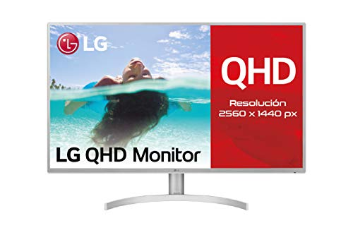 LG 32QK500-C, Monitor Profesional QHD de 80 cm (31.5') con Panel IPS (2560 x 1440 píxeles, 16:9, 300 CD/m², NTSC 72%, 1000:1, 8 ms, 75 Hz, DPx1, mDPx1, HDMIx2, Auriculares) Color Negro y Blanco