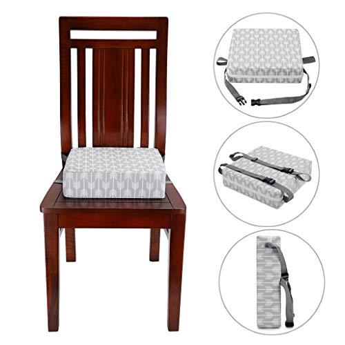 Sumnacon 食事 クッション こども 座布団 椅子用 クッション こども 高さ調節 チェアクッション 子供 ひも付き (ライトグレー)