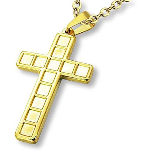 Amanto Danel G - Collana da uomo con ciondolo a forma di croce, in acciaio 316L, 45 x 27 mm, 60 cm