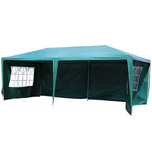 Ausla Carpa de Fiesta Plegable 3 x 6 M, Pabellón de PE Resistente a los Rayos UV, para para Fiestas, Boda, Camping, Verde