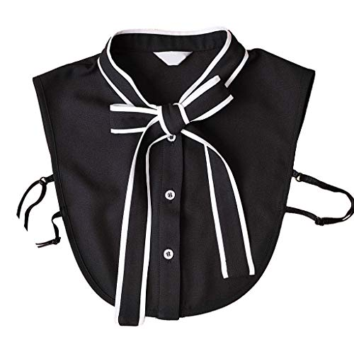 njuyd Ladies Collar Office Lady Detachable Half Shirt Blouse Solid Color Ribbon Bowknot Button Down Women False Collar Choker Clothing Accessory