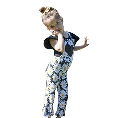 Longra meisjes overall bloem, bedrukt, zonder mouwen, broek, rugvrij, leuk, chique combinaties, shorts, meisjes, kant, schouderbody, zomer, jumpsuit