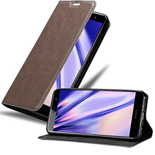 Cadorabo Hülle für Sony Xperia XZ2 Premium in Kaffee BRAUN - Handyhülle mit Magnetverschluss, Standfunktion & Kartenfach - Hülle Cover Schutzhülle Etui Tasche Book Klapp Style