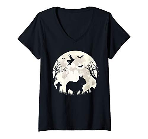 Womens Halloween Moon French Bulldog Costume Dog Lover Owner Gift V-Neck T-Shirt