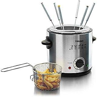 2en 1électrique Friteuse fondue en acier inoxydable pour 6personnes avec fourchettes à fondue Friteuse frire OEL Capaci...