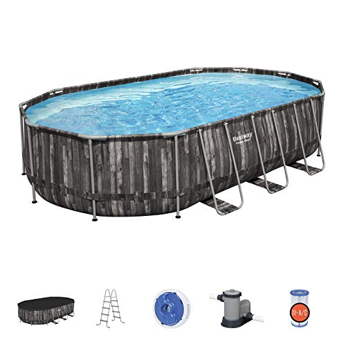 Bestway Power Steel 20 x 12 x 4 Foot Puncture Resistant PVC Liner Above Ground Oval Pool Set w/ Ladder, Cover, Pump, Replacement Cartridge, Repair Kit