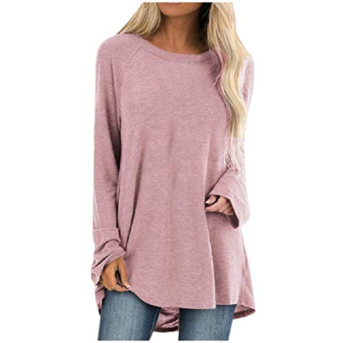 Aniywn Women's Plus Size Sweatshirt Tops Ladies Baggy Long Sleeve Thin Solid Pullover Blouse T Shirts(Pink,L5)