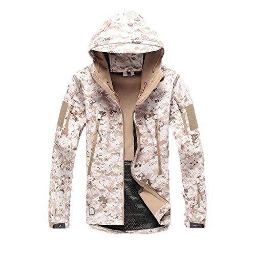 Chaqueta táctica Militar Softshell de Piel de tiburón, Abrigo de Camuflaje Militar con Capucha y Camuflaje Impermeable para Hombre