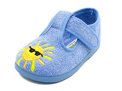 PULIDINES - Zapatilla de casa para niño de Toalla y con Suela de Goma Bebé niño Talla: 22 Color: Duke