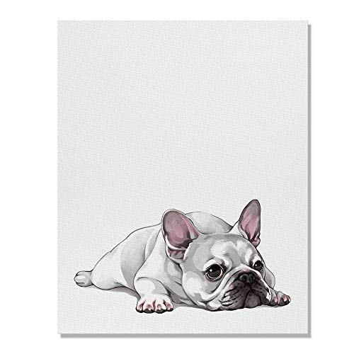 Wayfare Art French Bulldog Dog Lying Down Looking Up Canvas Prints Artwork Wall Art Poster for Home Office Living Room Decorations 8 x 10 inch