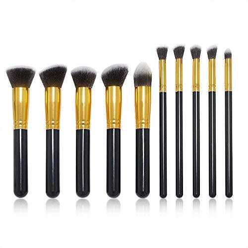 Pinceau de Maquillage Pinceaux de Maquillage Set Pinceaux pour Les Yeux avec Blush Foundation Pinceau Surligneur Brosse Eeyshadow (10pcs) (Color : Noir, Size : One Size)