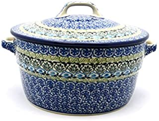 Polish Pottery Baker - Round Covered Casserole - Tranquility