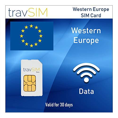 travSIM Westeuropa Prepaid-Daten SIM-Karte - 10GB Mobile Data (3G 4G LTE) Zur Nutzung In Österreich, Belgien, Frankreich, Deutschland, Italien, Niederlanden für 30 Tage - Mobile Hotspot Fähig
