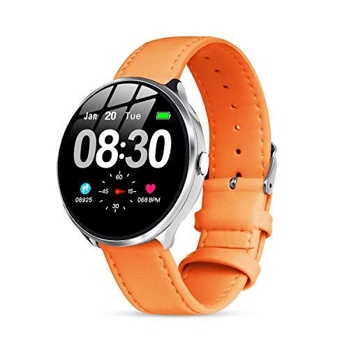 Smartwatch Sportivo Donna, Orologio Intelligente Ragazza Impermeabile IP67 Cardiofrequenzimetro da Polso Monitoraggio Fitness Tracker Contapassi Telecamera Remota Smartwatch per Android iOS (Arancio)