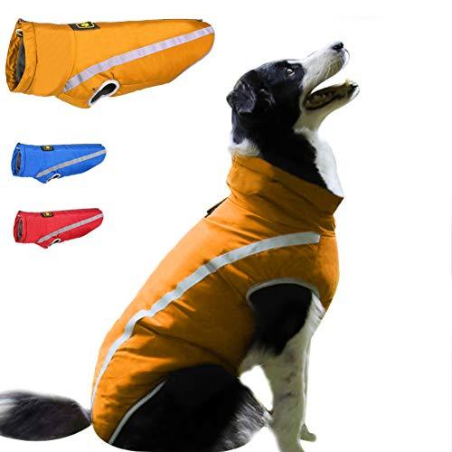 FEimaX Hundemantel Hundejacke wasserdichte für Hunde, Reflektierende Wintermantel mit Fleece Gefüttert, Welpen Warm Mantel Jacke Winterjacke für Kleine Mittlere Große Hunde Haustier (4XL, Gelb)