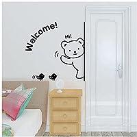 ウォールデカール BY WYZDGTD クマ ウェルカムアート デカール デコレーション エッジ壁画 取り外し可能なドア ステッカー 50X50 Cm