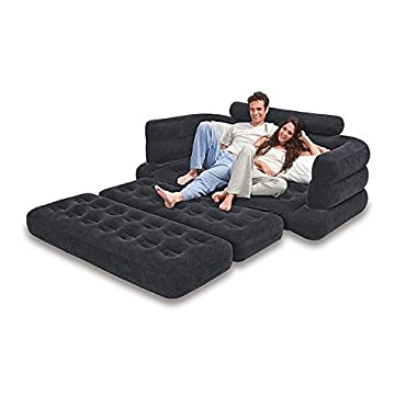 Inflatable Sofa. This Intex Lounge Blow Up Pull Out Queen Size Air Mattress Couch. Best For Indoor Or Outdoor Use. This Airbed With Comfortable Armrests & Backrest Is Great As Camping Or Guest Bed