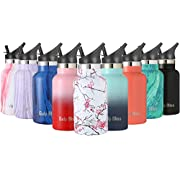 Gold Armour GulpBliss Double Wall Vacuum Insulated Stainless Steel Leak Proof Sports Water Bottle, Narrow Mouth with BPA Free Slip Free (Cherry Blossom, 12oz)