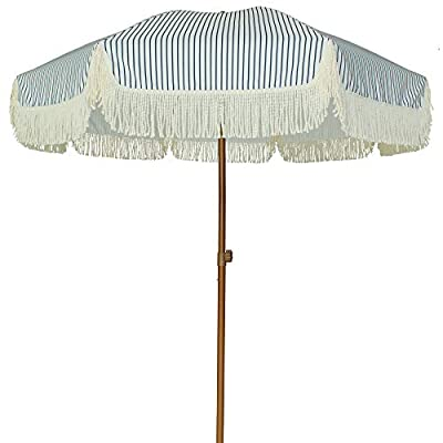 AMMSUN 7ft Patio Umbrella with Fringe Outdoor Yard Umbrella UPF50+ Wood Color Steel Pole and Steel Ribs Push Button Tilt - Navy Blue Stripes