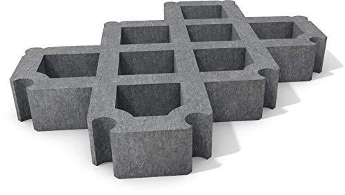 Rasengitter Steine aus dem Recycling-Kunststoff hanit®, mit Verbindungssystem, zum Einbau auf Parkplätzen sowie für Hof-, Abstell- und Lagerflächen, 60cm x 40cm x 8cm (1m² = ca. 4,17 Steine), grau (4)