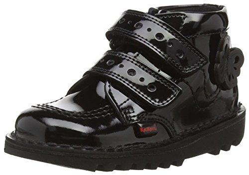 Kickers Unisex Babies Kick Flutter Black Patent Leather School Shoes Black 8 UK Child
