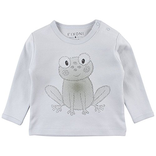 Fixoni Grow LS Top, T-Shirt Manches Longues Bébé garçon, Bleu Soft Blue 03-43, 9 Mois