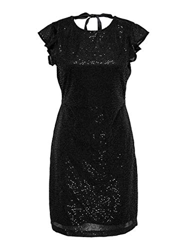 ONLY Damen Onlduna Frill Short Dress Wvn Kleid, Schwarz, 38 EU