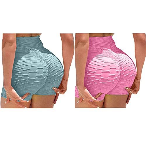 VESNIBA Juego de 2 pantalones cortos de deporte para mujer, para gimnasio, fitness, yoga, etc. azul rosa L