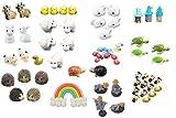 Miniature Garden Decoration Items Combo of 60 pcs PACKAGE CONTAINS- 4pcs Chickens, 2pcs Tortoise, 4pcs Turtles, 5pcs Hedgehog, 1pc Duck, 5pcs Whales, 4pcs Cows, 1pc Rainbow Cloud 5pcs Sheep, 3pcs Blue Log Huts, 10pcs Ladybugs, 10pcs Honeybees Usage- ...