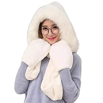 Winter Warm Women Siamese Hoodie Gloves Pocket Earflap Hat Long Scarf Shawl Wraps