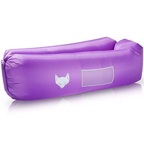 icefox Luftsofa, Wasserdichtes Aufblasbares Air Lounger mit Tragebeutel, zum Schlafen im Freien, im Innenbereich, zum Zurücklehnen und Entspannen, Aufblasbarer Sitzsack für Camping|den Strand(Lila)