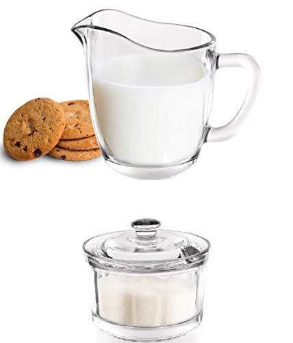 Set zuccheriera e lattiera in vetro trasparente di qualità, 200ml