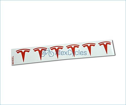 AlexCycles Tesla Model S/X/3 Wheel Center Cap Insert Decals Stickers RED Set