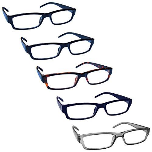 The Reading Glasses Company Die Lesebrille Unternehmen Wert 5er-Pack Leicht Herren Frauen Schwarz Braun Dark Blau Grau RRRRR32-11237 +2,50