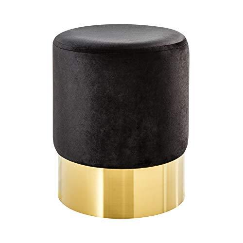 Riess Ambiente Elegante kruk MODERN BAROK SAMT zwart goud salontafel voetenbank kruk fluweel