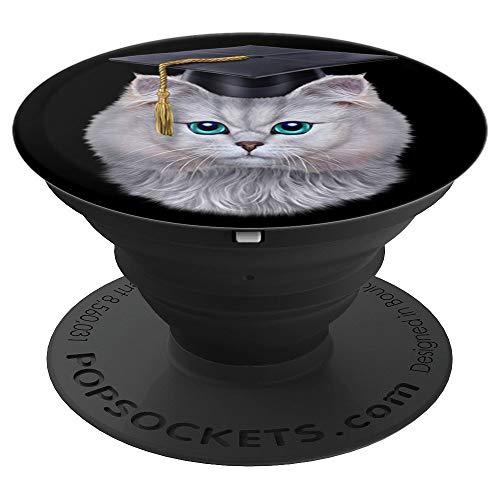 Tabby-Katze im Hochschulabschluss Kappe, Bachelor Mütze - PopSockets Ausziehbarer Sockel und Griff für Smartphones und Tablets