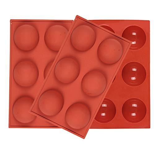 Viilich Lot de 3 moules en silicone à 6 cavités en forme de demi-sphère,pour faire du chocolat,des gâteaux,de la gelée,de la mousse en forme de dôme Moules en silicone anti-adhésif pour la cuisson