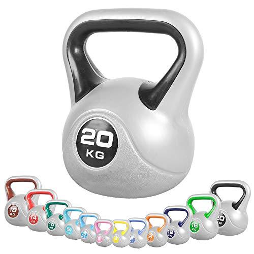 GORILLA SPORTS® Kettlebell Stylish 2-20 kg Kunststoff – Fitness-Kugelhantel 20 kg