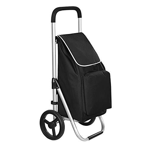 SONGMICS Faltbarer Einkaufstrolley, mit Rollen, leichter Einkaufswagen mit isoliertem Kühlfach, 40 L, schwarz KST04BK